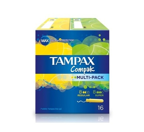 Tampax compak tampon 100%algodon (multipack 8 u + 8 u)