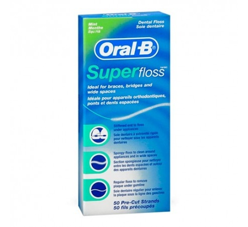 Oral-b superfloss - seda dental (menta 50 u)