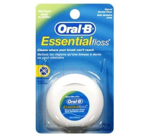 Oral-b essential floss fluor - seda dental con cera (menta 50 m)