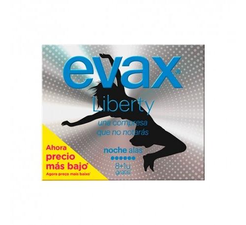 Compresas higienicas femeninas - evax liberty (noche con alas 10 compresas)