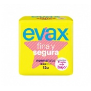 Compresas higienicas femeninas - evax fina y segura (normal con alas 12 compresas)