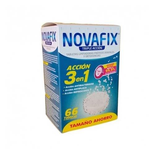 Novafix tabletas limpiadoras triple accion - limpieza protesis dental (66 tabletas)