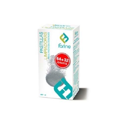 Farline pastillas limpiadoras - limpieza protesis dental (96 tabletas)