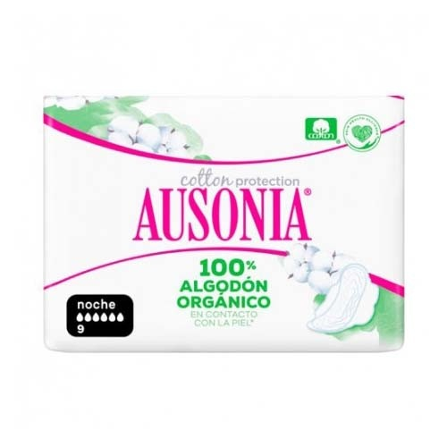 Compresas higienicas femeninas - ausonia cotton protection (noche alas 9 u)