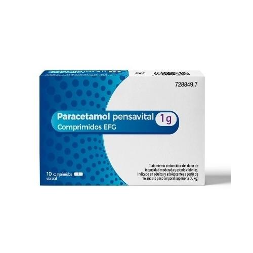 PARACETAMOL PENSAVITAL 1G COMPRIMIDOS EFG, 10 comprimidos