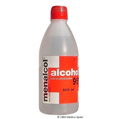 MENALCOL REFORZADO 96º SOLUCIÓN CUTÁNEA, 1 frasco transparente de polietileno de 500 ml